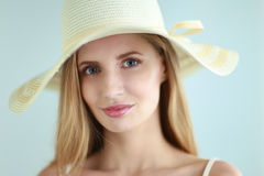 Portrait of beautiful model in hat ,isolated on Stock Photo