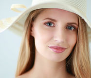 Portrait of beautiful model in hat ,isolated on white background Royalty Free Stock Image