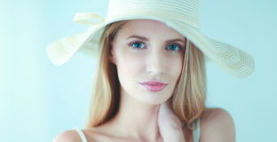 Portrait of beautiful model in hat ,isolated on white background Stock Photo