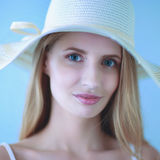 Portrait of beautiful model in hat ,isolated on white background Royalty Free Stock Photos