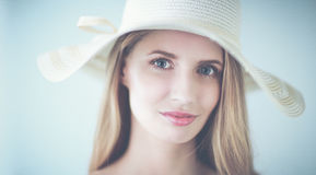 Portrait of beautiful model in hat ,isolated on white background Stock Images