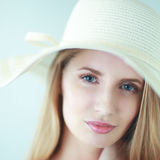 Portrait of beautiful model in hat ,isolated on white Royalty Free Stock Image