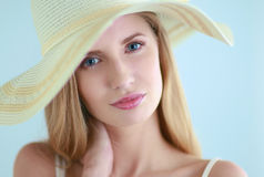 Portrait of beautiful model in hat , on white Royalty Free Stock Photography