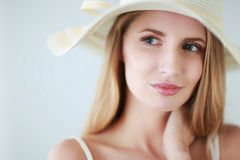 Portrait of beautiful model in hat , on white background Stock Photos