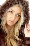 Portrait of beautiful model with hood coat Royalty Free Stock Photos
