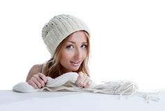 Portrait of beautiful model shows knitted garment Stock Photos