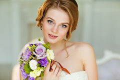 Portrait of beautiful modest shy and very cute girl with brown h Stock Photo