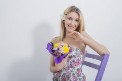 Portrait of beautiful modest very cute girl Stock Image