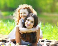 Portrait beautiful mom and daughter resting Royalty Free Stock Images