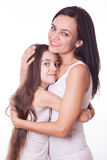 Portrait of beautiful mother and daughter Stock Photos