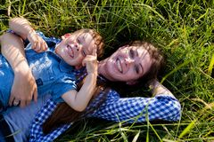 Portrait of a beautiful mother with a young son outdoors travel royalty free stock photos