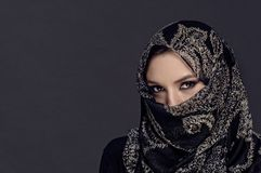 Portrait of beautiful Muslim girl  showing her eyes only Royalty Free Stock Photography