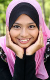 Portrait of beautiful muslim woman. Portrait of beautiful thoughtful muslim woman royalty free stock images