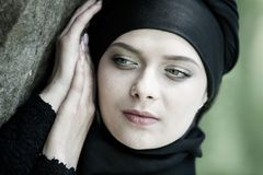 Portrait of a beautiful muslim woman. Young arabian woman in hijab
