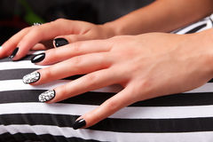Portrait of beautiful nail art Stock Images