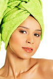 Portrait of beautiful naked woman with turban. Royalty Free Stock Images