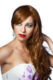 Portrait of the beautiful nice woman with red hair Royalty Free Stock Photos