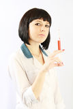 Portrait beautiful nurse with syringe Stock Photo