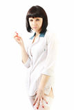 Portrait beautiful nurse in white robe Royalty Free Stock Images