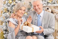 Portrait of a beautiful old couple with Christmas present stock photo