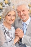 Portrait of a beautiful old couple with Christmas present royalty free stock photography