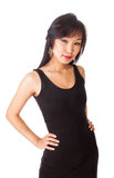 Portrait of a beautiful Oriental female. Beautiful chinese female in a black dress isolated on white Stock Photography