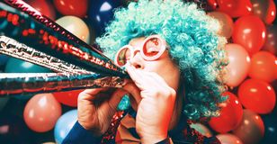 Portrait of beautiful party woman in wig and glasses Carneval. Portrait of beautiful party woman in wig and blasses Carneval stock photos