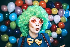 Portrait of beautiful party woman in wig and glasses Carneval. Portrait of beautiful party woman in wig and blasses Carneval stock images