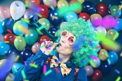 Portrait of beautiful party woman in wig and glasses Carneval. Portrait of beautiful party woman in wig and blasses Carneval stock photography