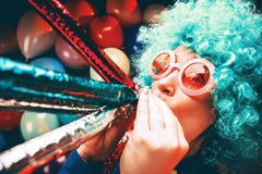 Portrait of beautiful party woman in wig and glasses Carneval. Portrait of beautiful party woman in wig and blasses Carneval stock photo