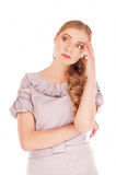 Portrait of a beautiful pensive businesswoman looking away Royalty Free Stock Photos
