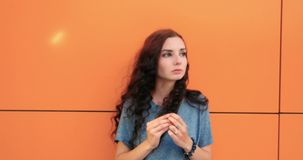 Portrait of a beautiful pensive girl with red hair stock video footage