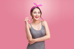 Portrait of beautiful pinup asian woman with vintage makeup and Stock Photo