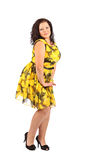 Portrait of beautiful plus size young brunette woman posing on white background Royalty Free Stock Photography