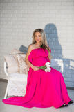 Portrait of a beautiful pregnant woman bright dress and long hai Stock Photo