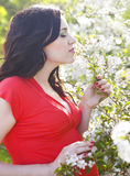 Portrait of beautiful pregnant woman in the flowering spring par Stock Photo