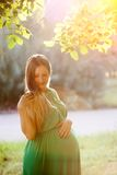 Portrait of a beautiful pregnant woman at sunset Stock Photo