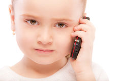 Portrait of beautiful preschool child with phone Royalty Free Stock Images