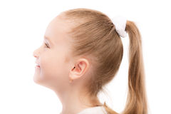 Portrait of beautiful preschool child in profile Royalty Free Stock Photo