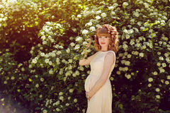 Portrait of a beautiful red-haired and curly pregnant girl on th stock images