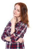 Portrait of a beautiful red-haired girl fun. stock photography