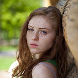 Portrait of the beautiful red haired girl Royalty Free Stock Image
