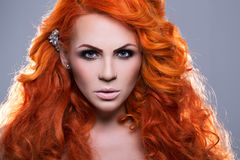 Portrait of beautiful red-haired woman Royalty Free Stock Photo