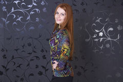 Portrait of the beautiful red haired woman Stock Photos