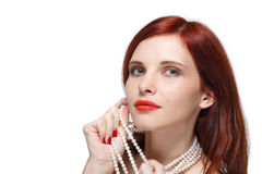 Portrait of beautiful red- haired woman. Stock Photography