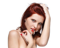 Portrait of beautiful red- haired woman. Royalty Free Stock Photo