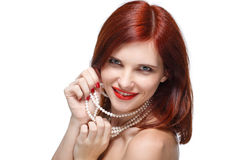 Portrait of beautiful red- haired woman. Royalty Free Stock Photography
