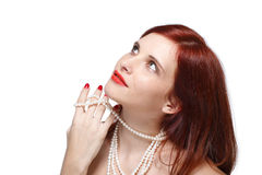 Portrait of beautiful red- haired woman. Stock Images