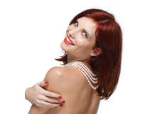 Portrait of beautiful red- haired woman. Royalty Free Stock Image