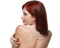 Portrait of beautiful red- haired woman. Stock Photo